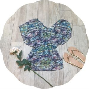 Watercolor Pattern Chiffon Shirt